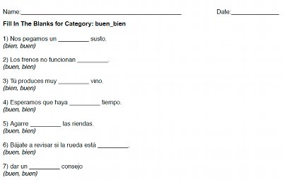 Fill In The Blanks: Free Printable Spanish Worksheets